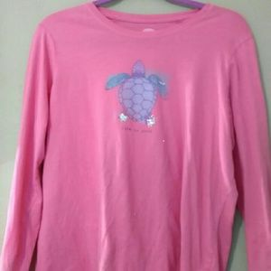 Life Is Good turtle  🐢  Long sleeve, pink, large